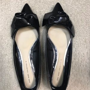 Zara. Black flats with bow